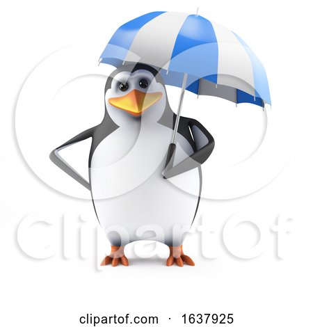 3d Penguin Holding an Umbrella, On a White Background by Steve Young