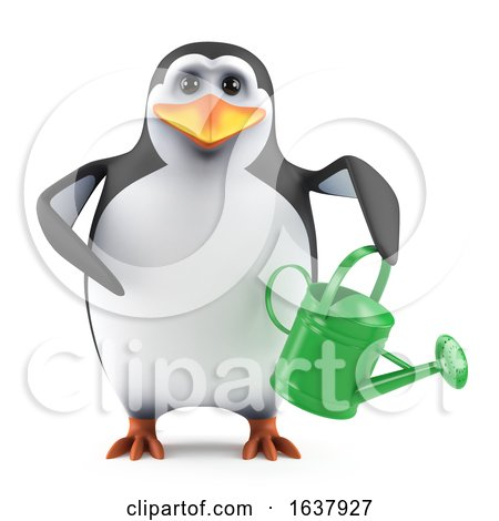 3d Penguin Gardener, On a White Background by Steve Young