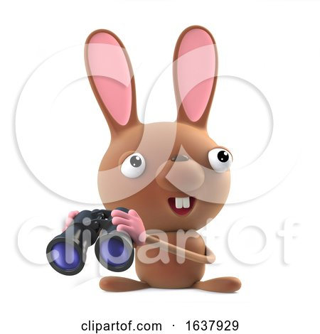 3d Cute Easter Bunny Rabbit with Binoculars, On a White Background by Steve Young