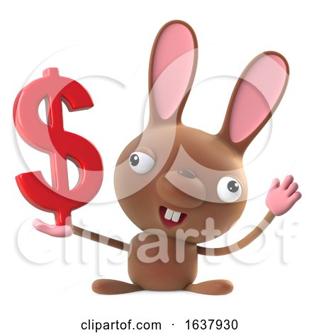 3d Cute Cartoon Easter Bunny Rabbit Holding US Dollar Currency, On a White Background by Steve Young