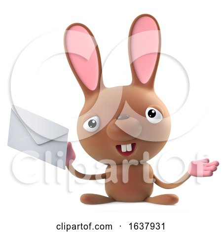 3d Funny Cartoon Easter Bunny Rabbit Character Has Mail, On a White Background by Steve Young