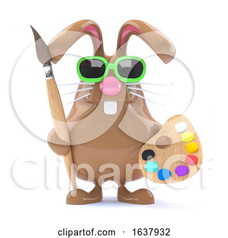 3d Easter Bunny Loves to Paint, On a White Background by Steve Young