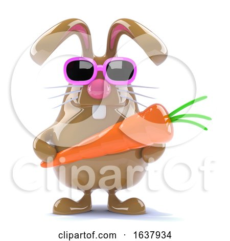 3d Easter Rabbit with a Carrot, On a White Background by Steve Young