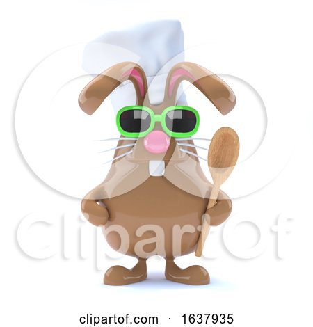 3d Chcolate Bunny Chef, On a White Background by Steve Young
