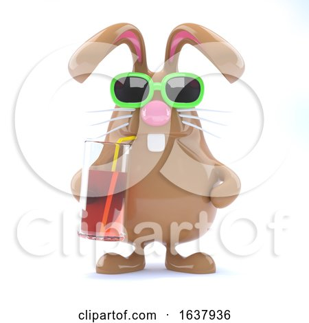 3d Easter Bunny Has a Cool Drink, On a White Background by Steve Young