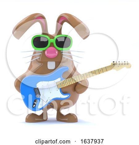 3d Easter Bunny Played Guitar, On a White Background Posters, Art Prints