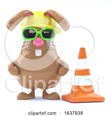 3d Easter Bunny Road Works, On a White Background Posters, Art Prints