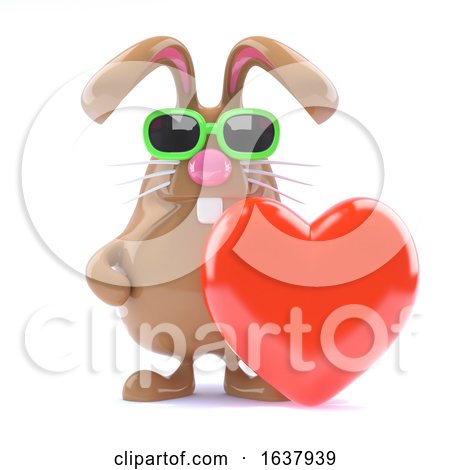 3d Bunny Love, On a White Background by Steve Young
