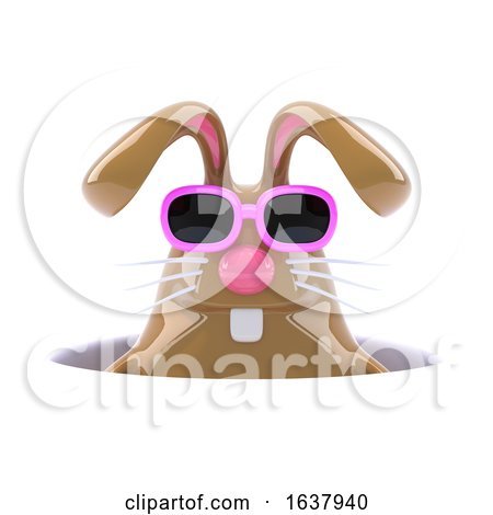 3d Rabbit down a Hole, On a White Background by Steve Young