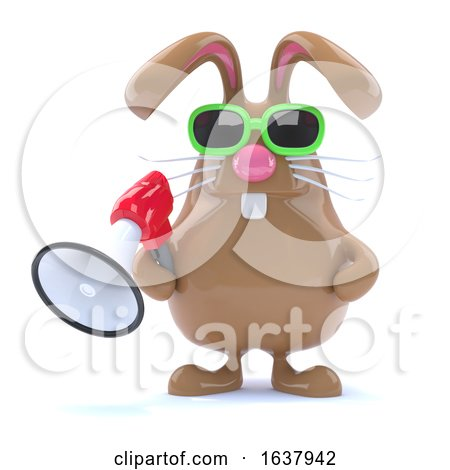 3d Bunny Loudhailer, On a White Background by Steve Young
