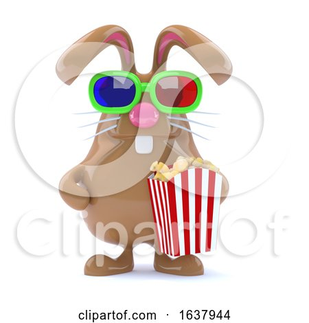 3d Chocolate Easter Bunny with Popcorn, On a White Background by Steve Young