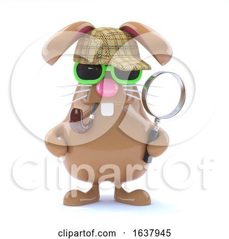 3d Sherlock Bunny, On a White Background Posters, Art Prints