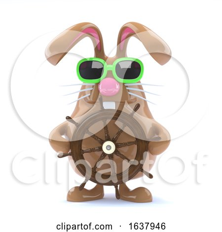 3d Easter Bunny Sailor, On a White Background by Steve Young