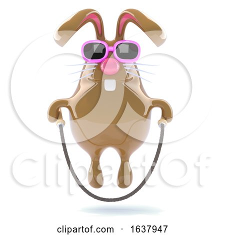 3d Easter Bunny Skips Happily, On a White Background by Steve Young