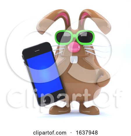 3d Chocolate Easter Bunny with Smartphone., On a White Background by Steve Young