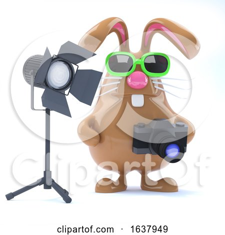 3d Chocolate Easter Bunny in the Studio, On a White Background by Steve Young