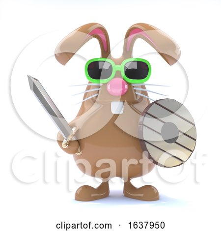 3d Bunny Warrior, On a White Background by Steve Young