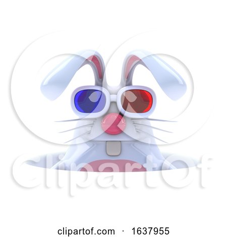 3d White Rabbit in a Hole, On a White Background by Steve Young
