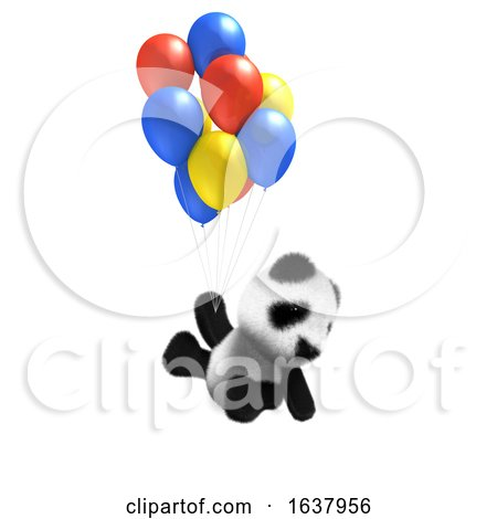 3D Baby Panda Balloon Ride, On a White Background by Steve Young