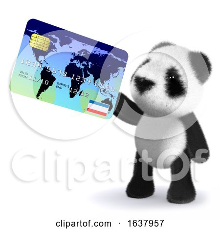 3d Baby Panda Bear Pays with a Debit Card, On a White Background by Steve Young