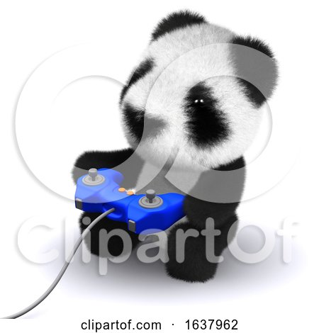 3d Gamer Panda, On a White Background by Steve Young