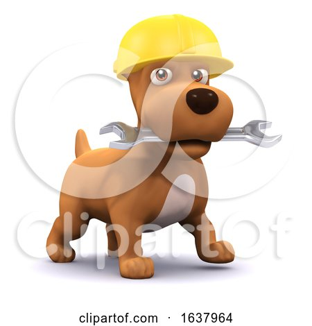 3d Puppy Mechanic, On a White Background by Steve Young