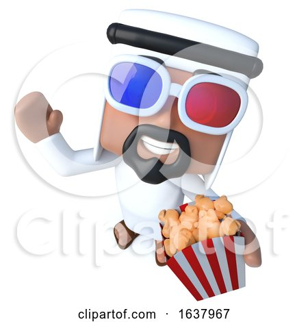 3d Funny Cartoon Arab Sheik Character Eating Popcorn at the Movies, On a White Background by Steve Young