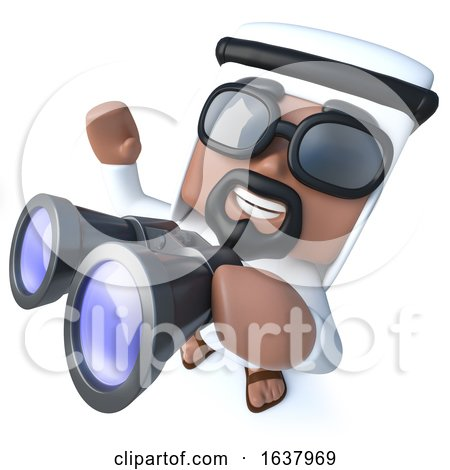 3d Funny Cartoon Arab Sheik Character Using a Pair of Binoculars, On a White Background by Steve Young
