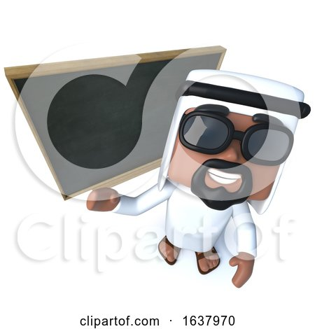 3d Funny Cartoon Arab Sheik Character Teaching at the Blackboard, On a White Background by Steve Young