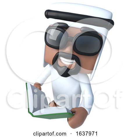 3d Funny Cartoon Arab Sheik Character Reading a Book, On a White Background by Steve Young