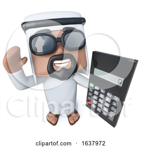 3d Funny Cartoon Arab Sheik Character Holding a Calculator, On a White Background by Steve Young