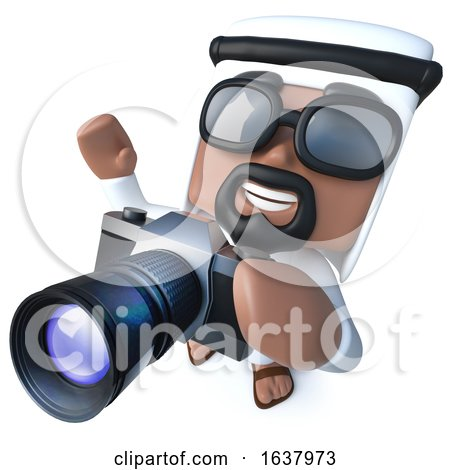 3d Funny Cartoon Arab Sheik Character Taking a Photo with a Camera, On a White Background by Steve Young