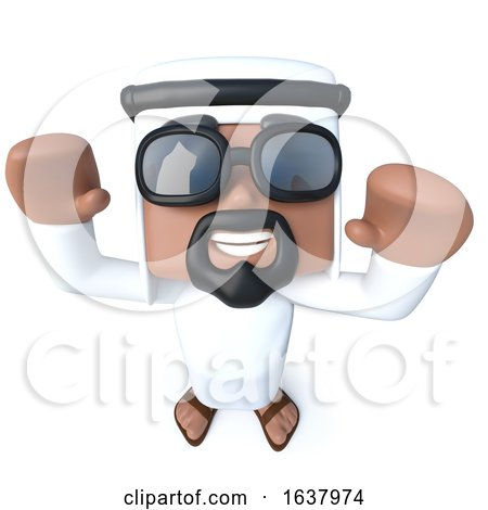 3d Funny Cartoon Arab Sheik Character Is Cheering with Joy, On a White Background by Steve Young