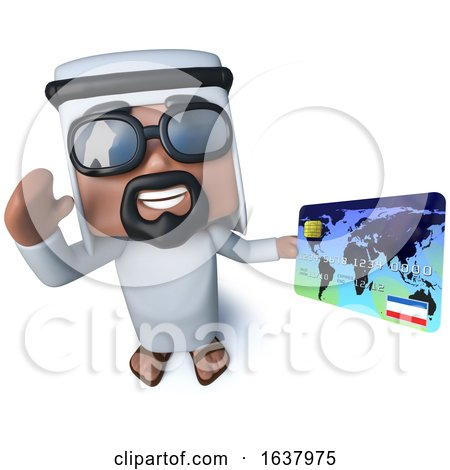 3d Funny Cartoon Arab Sheik Character Holding a Debit Card, On a White Background by Steve Young
