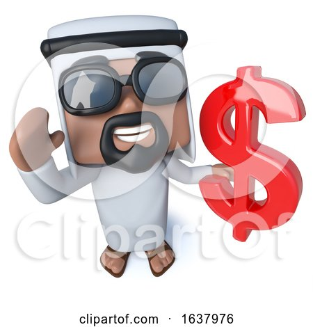 3d Funny Cartoon Arab Sheik Character Holding a US Dollar Currency Symbol, On a White Background by Steve Young