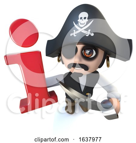 3d Funny Cartoon Pirate Captain Character Holding an Information Symbol, On a White Background by Steve Young