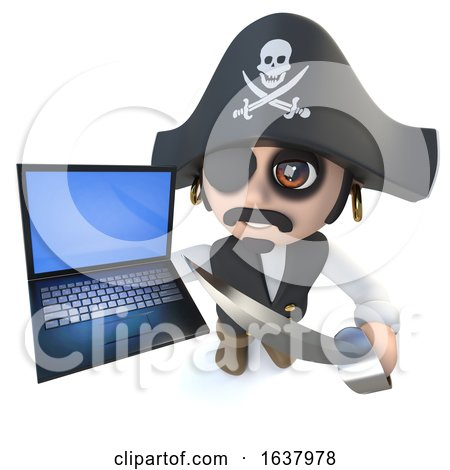 3d Funny Cartoon Pirate Captain Character Holding a Laptop Computer Device, On a White Background by Steve Young
