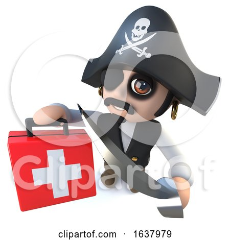 3d Funny Cartoon Pirate Captain Character Holding a First Aid Kit, On a White Background by Steve Young