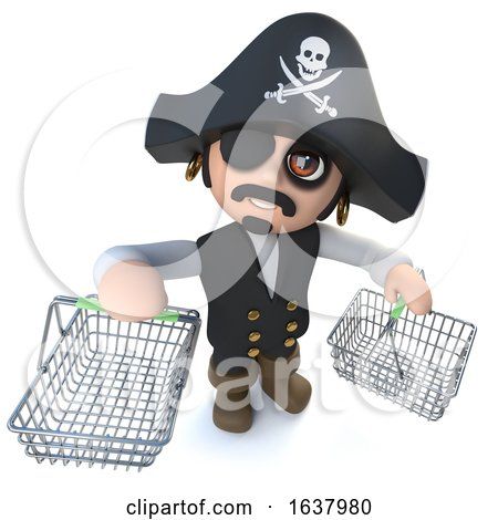 3d Funny Cartoon Pirate Captain Carrying Shopping Baskets, On a White Background by Steve Young