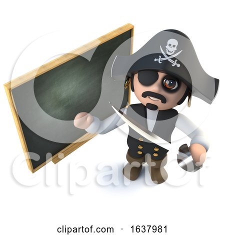 3d Funny Cartoon Pirate Captain Standing at a Blackboard, On a White Background by Steve Young