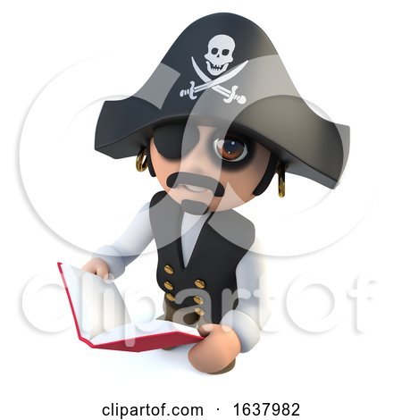 3d Funny Cartoon Pirate Captain Reading a Book, On a White Background by Steve Young