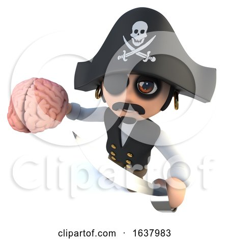 3d Funny Cartoon Pirate Captain Holding a Human Brain, On a White Background by Steve Young