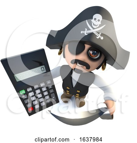 3d Funny Cartoon Pirate Captain Holding a Digital Calculator, On a White Background by Steve Young