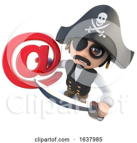 3d Funny Cartoon Pirate Captain Holding an Email Address Symbol, On a White Background by Steve Young