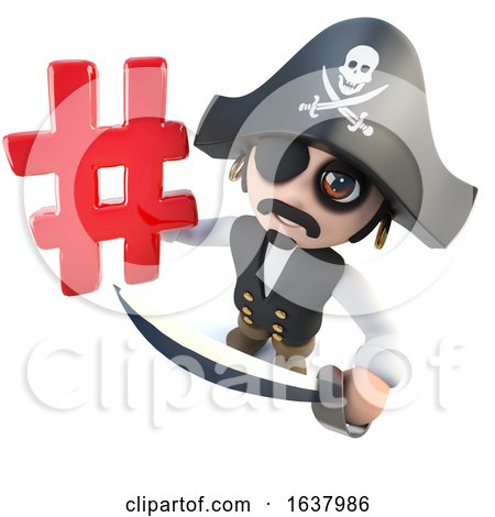 3d Funny Cartoon Pirate Captain Holding a Hashtag Symbol, On a White Background by Steve Young