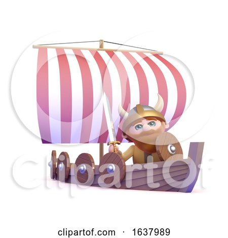 3d Viking Goes Sailing, On a White Background by Steve Young