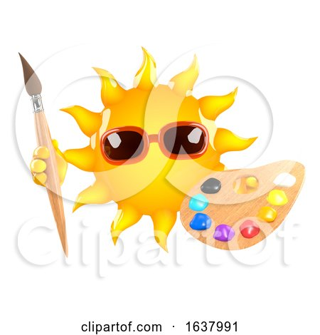 3d Sun Artist, On a White Background by Steve Young