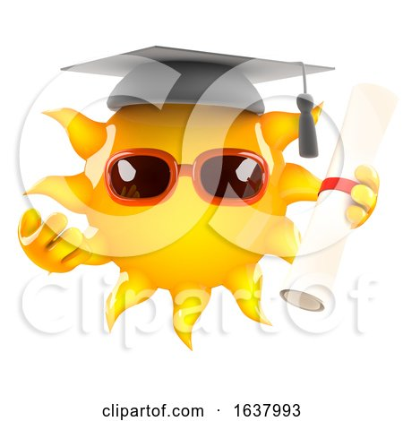 3d Sun Graduates, On a White Background by Steve Young