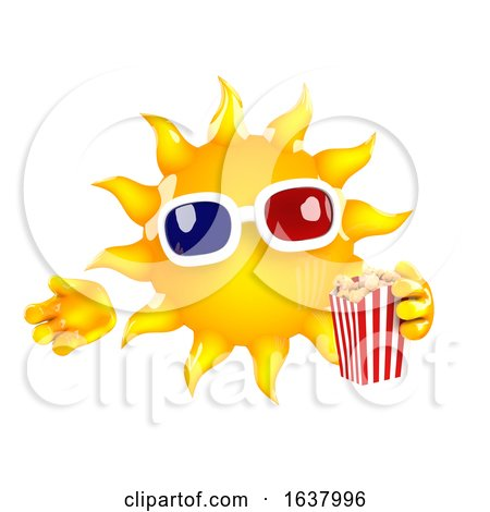 3d Sun at the Movies, On a White Background by Steve Young