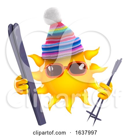 3d Sun Goes Skiing, On a White Background by Steve Young